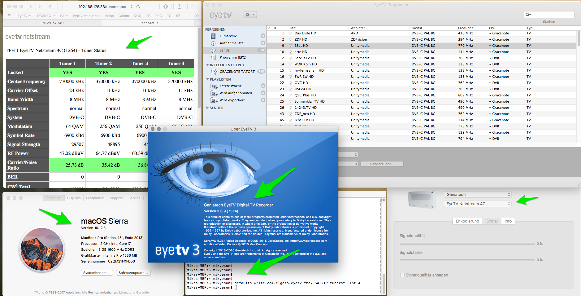 How do I receive 4 channels from EyeTV Netstream 4Sat on my