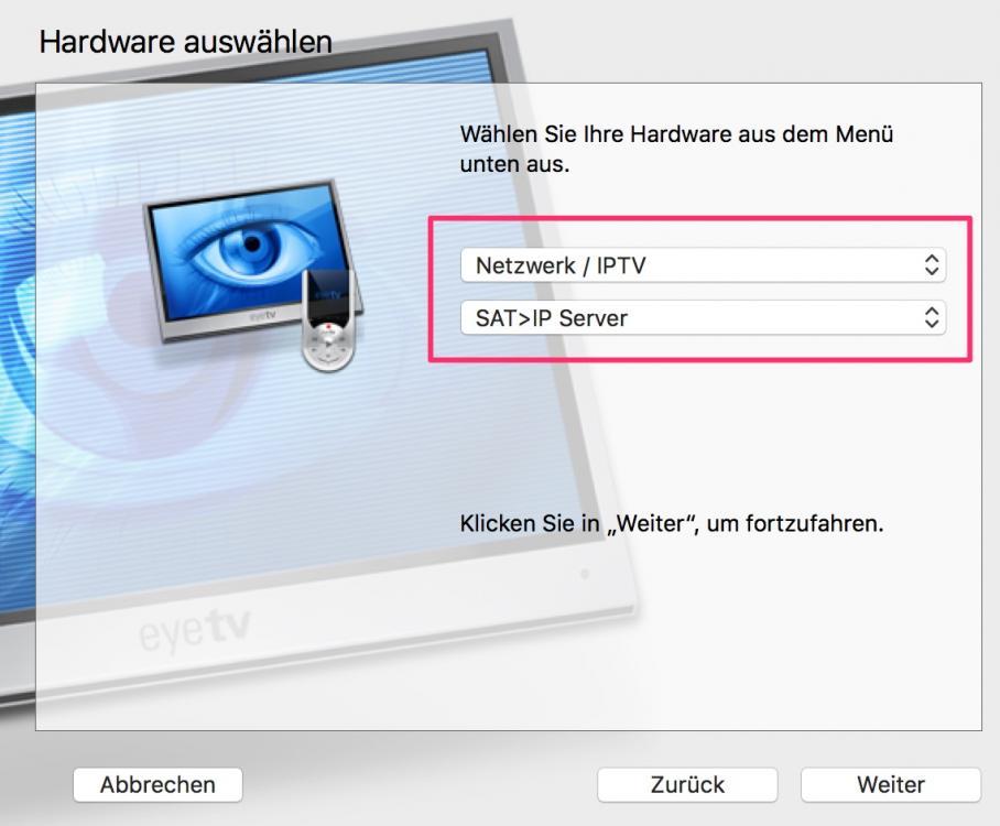 How do I setup EyeTV to connect to a SAT>IP server